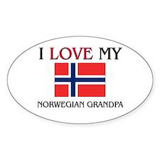 I Love My Norwegian Grandpa Oval Decal
