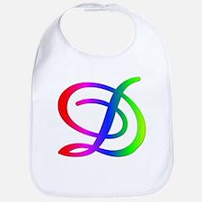 Rainbow Cursive D Bib