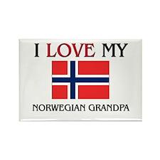 I Love My Norwegian Grandpa Rectangle Magnet