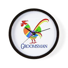 Rainbow Rooster Groomsman Wall Clock