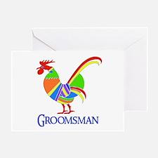 Rainbow Rooster Groomsman Greeting Card