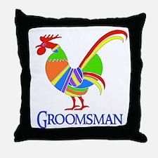 Rainbow Rooster Groomsman Throw Pillow