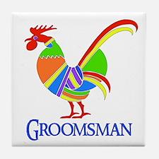 Rainbow Rooster Groomsman Tile Coaster