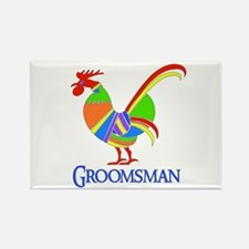 Rainbow Rooster Groomsman Rectangle Magnet