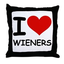 I LOVE WIENERS Throw Pillow