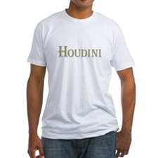 Houdini Fitted White T-Shirt, Green Letters