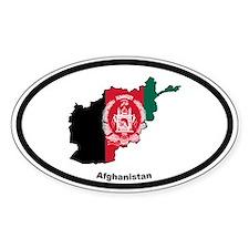 Afghanistan Outline & Flag Oval Decal