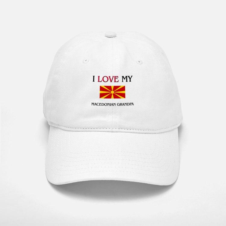 I Love My Macedonian Grandpa Baseball Baseball Cap