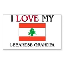 I Love My Lebanese Grandpa Rectangle Decal