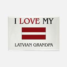 I Love My Latvian Grandpa Rectangle Magnet