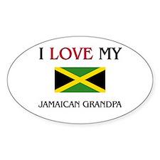 I Love My Jamaican Grandpa Oval Decal