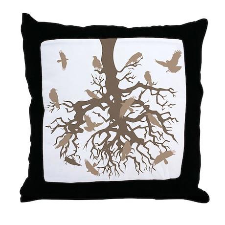 Tree Ravens Throw Pillow