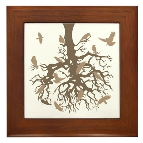 Tree Ravens Framed Tile