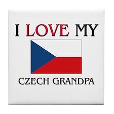 I Love My Czech Grandpa Tile Coaster