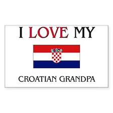 I Love My Croatian Grandpa Rectangle Decal