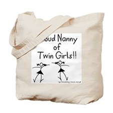 Proud Nanny of Twin Girls Tote Bag
