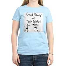 Proud Nanny of Twin Girls Women's Pink T-Shirt