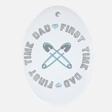 First Time Dad Boy Blue Oval Ornament