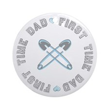 First Time Dad Boy Blue Ornament (Round)