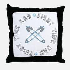First Time Dad Boy Blue Throw Pillow