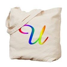 Rainbow Cursive U Tote Bag