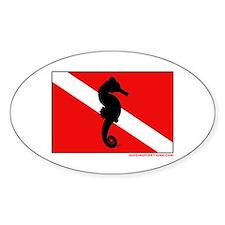 Seahorse Scuba Diving Flag Oval Decal