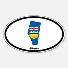 Alberta Outline & Flag Oval Decal