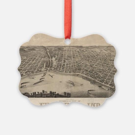 Vintage Pictorial Map of Evansvil Ornament