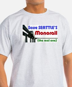 Save Seattle's Monorail Ash Grey T-Shirt