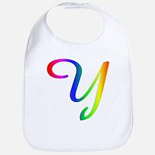 Rainbow Cursive Y Bib