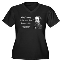 Charles Dickens 15 Women's Plus Size V-Neck Dark T