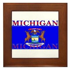 Michigan State Flag Framed Tile