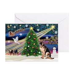 XmasMagic/G Shepherd 2 Greeting Cards (Pk of 10)