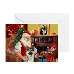 Santa's G-Shepherd (#8) Greeting Cards (Pk of 10)