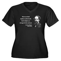 Charles Dickens 8 Women's Plus Size V-Neck Dark T-