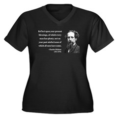 Charles Dickens 6 Women's Plus Size V-Neck Dark T-