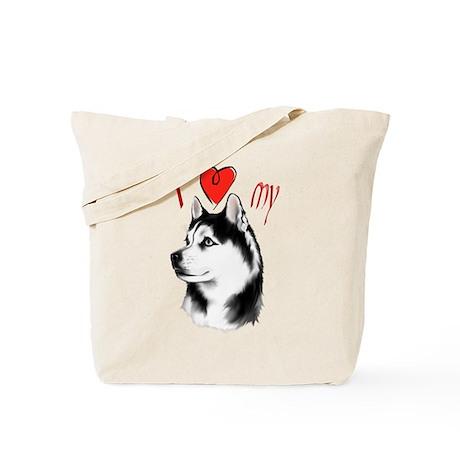 I Love My Siberian Husky Tote Bag