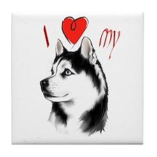 I Love My Siberian Husky Tile Coaster