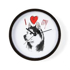 I Love My Siberian Husky Wall Clock