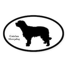 Catalan Sheepdog Silhouette Sticker (Euro-Style)
