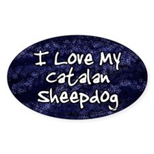 Funky Love Catalan Sheepdog Oval Decal