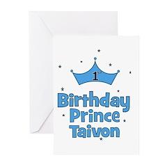 1st Birthday Prince Taivon! Greeting Cards (Pk of