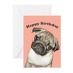 Pug Puppy Birthday Cards (Pk of 10)