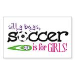 Soccer is for GIRLS Rectangle Sticker 10 pk)