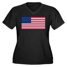 Red White and Blue Women's Plus Size V-Neck Dark T