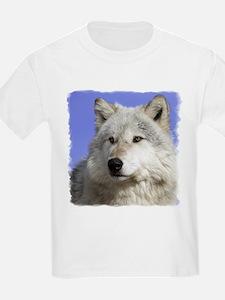 White Wolf on Blue Kids T-Shirt