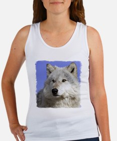 White Wolf on Blue Women's Tank Top