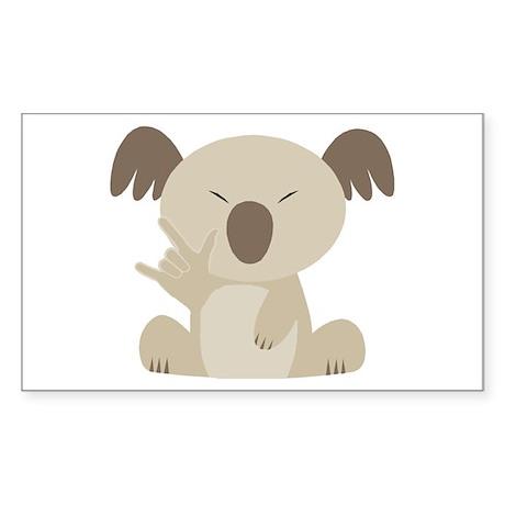 I Love You Koala Rectangle Sticker