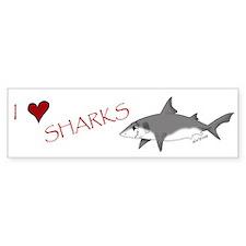 I Love Sharks Bumper Bumper Sticker