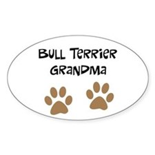 Big Paws Bull Terrier Mom Oval Decal